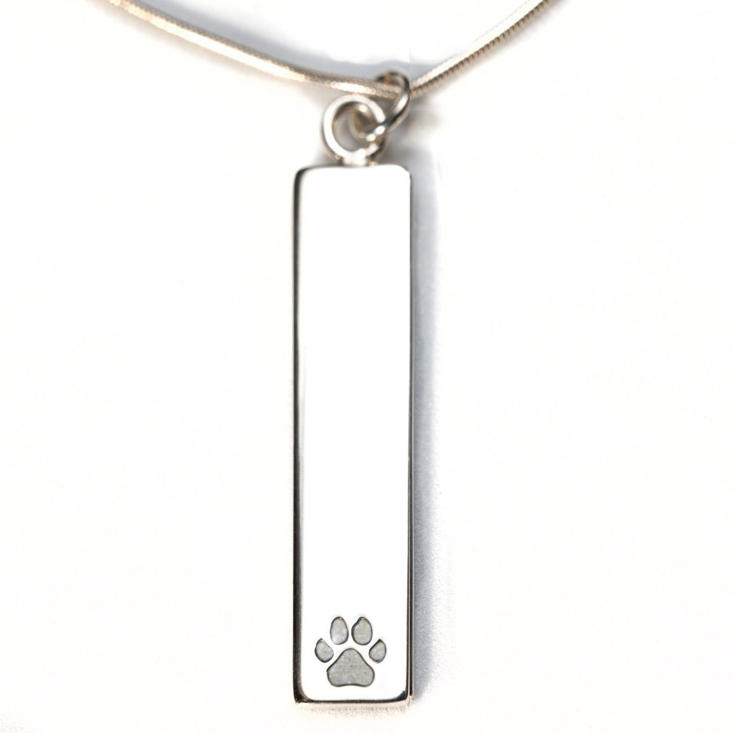 Sterling Silver Bar Pendant Necklace with Pawprint Everence Inlay everence.life Pearl