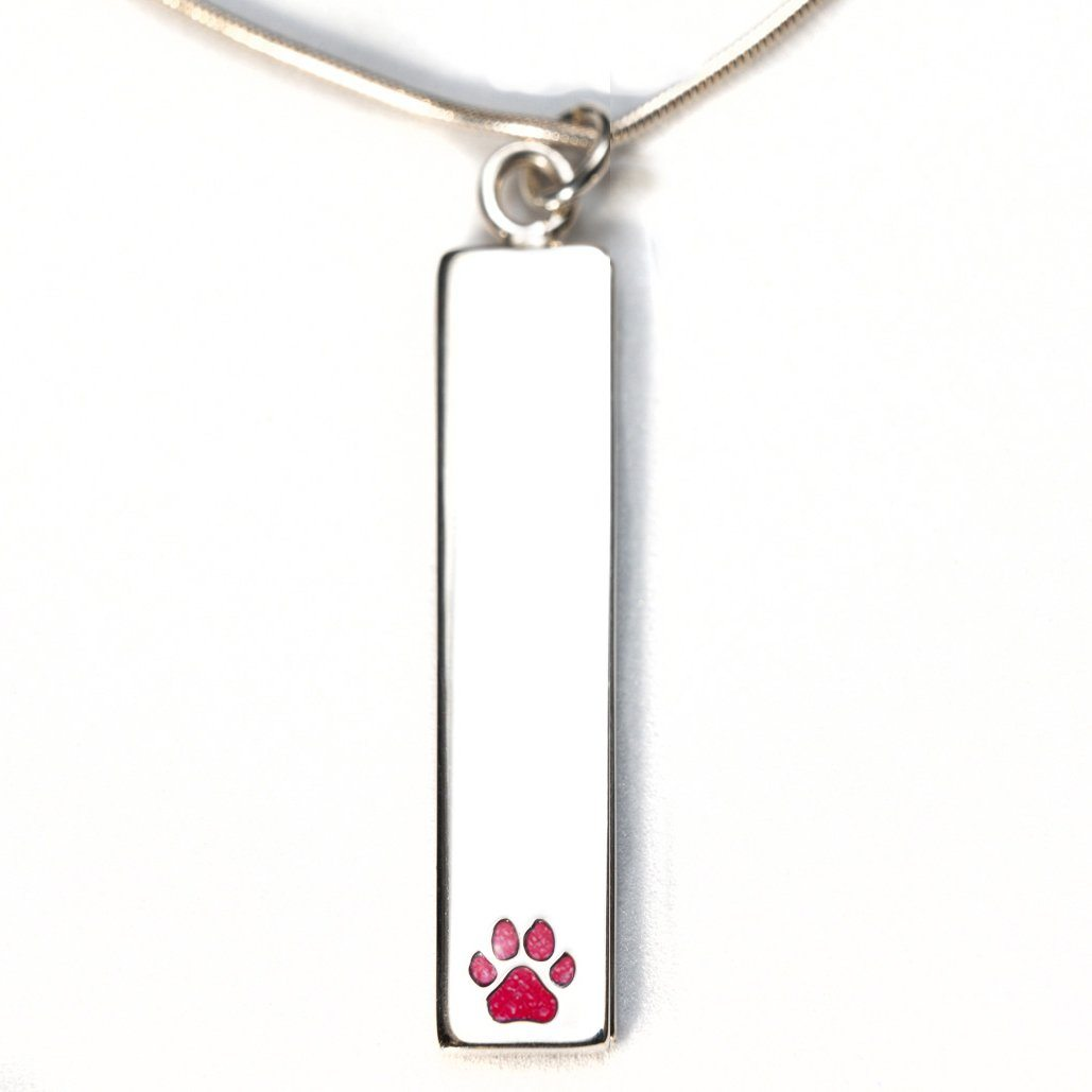 Sterling Silver Bar Pendant Necklace with Pawprint Everence Inlay everence.life Scarlet