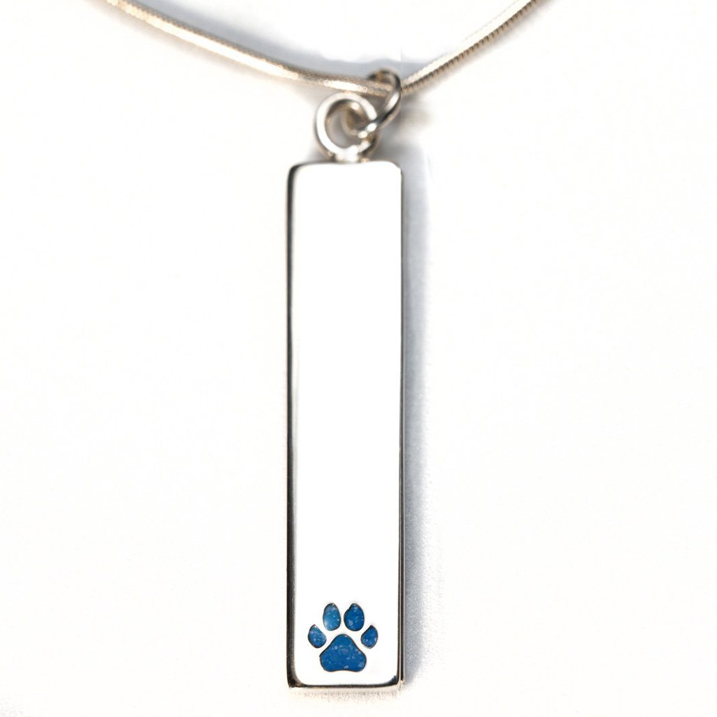 Sterling Silver Bar Pendant Necklace with Pawprint Everence Inlay everence.life Sky