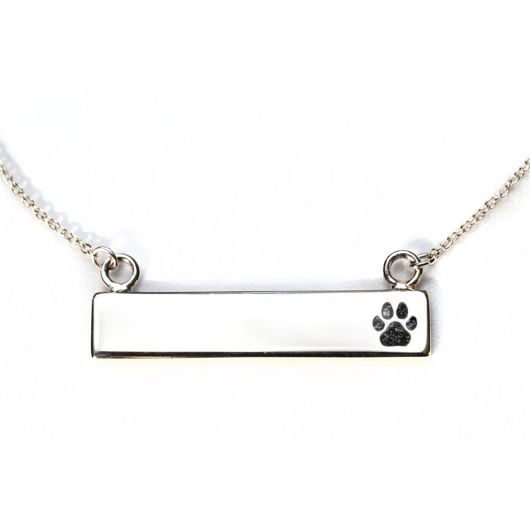 Sterling Silver Bar Necklace with Pawprint Everence Inlay everence.life Charcoal