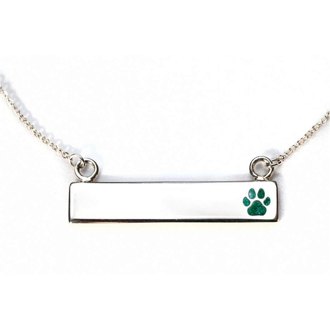 Sterling Silver Bar Necklace with Pawprint Everence Inlay everence.life Emerald