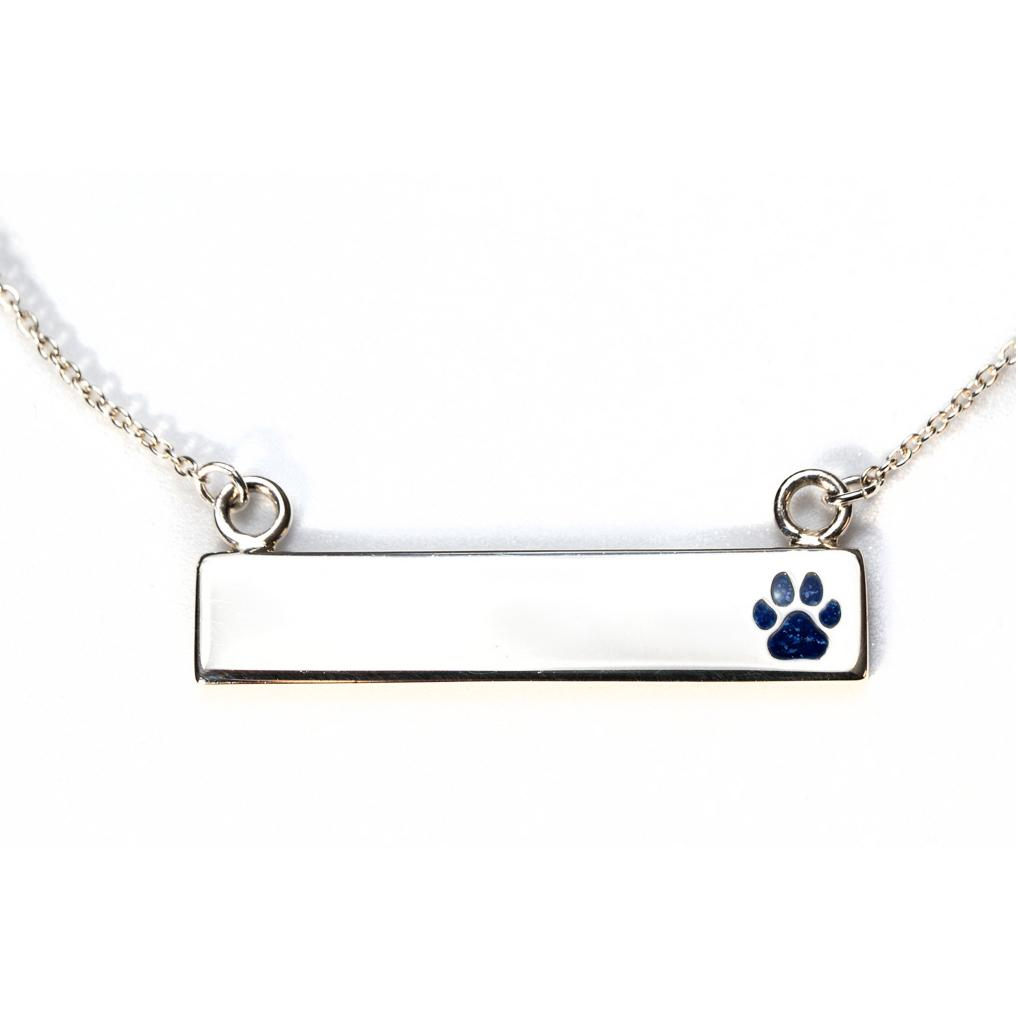 Sterling Silver Bar Necklace with Pawprint Everence Inlay everence.life Navy