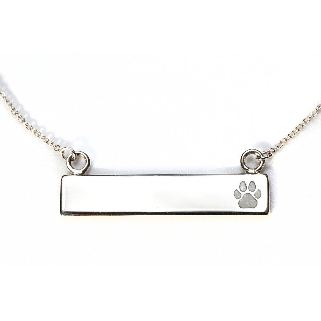 Sterling Silver Bar Necklace with Pawprint Everence Inlay everence.life Pearl
