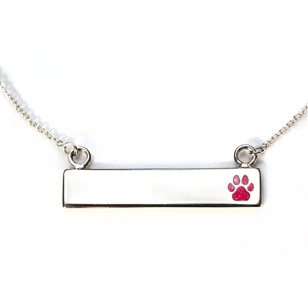 Sterling Silver Bar Necklace with Pawprint Everence Inlay everence.life Scarlet