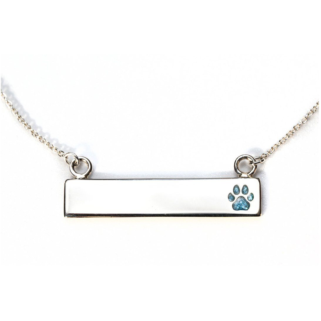 Sterling Silver Bar Necklace with Pawprint Everence Inlay everence.life Sky