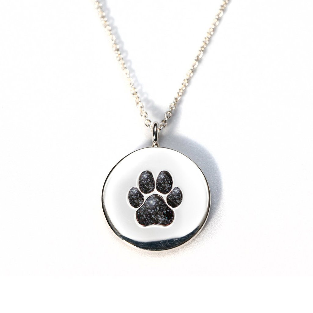 Sterling Silver Pawprint Pendant everence.life Charcoal