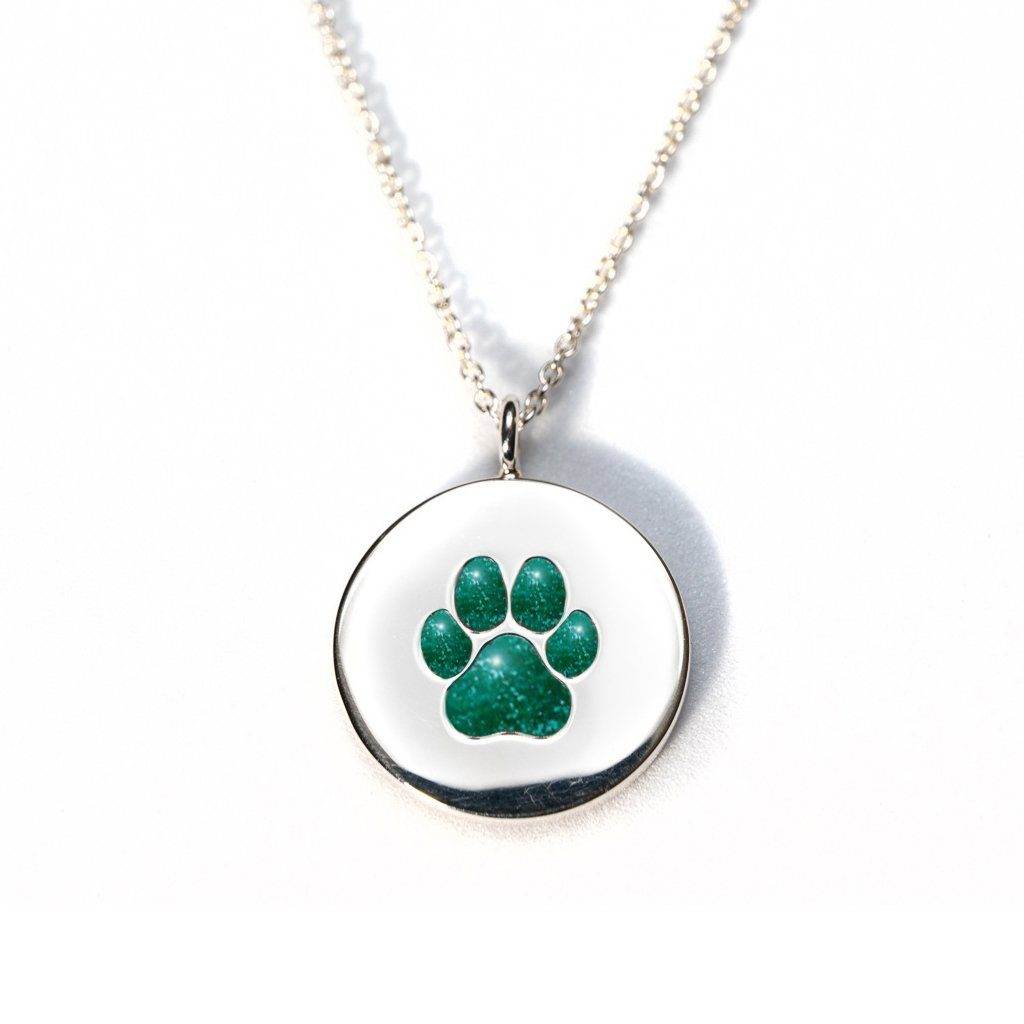 Sterling Silver Pawprint Pendant everence.life Emerald