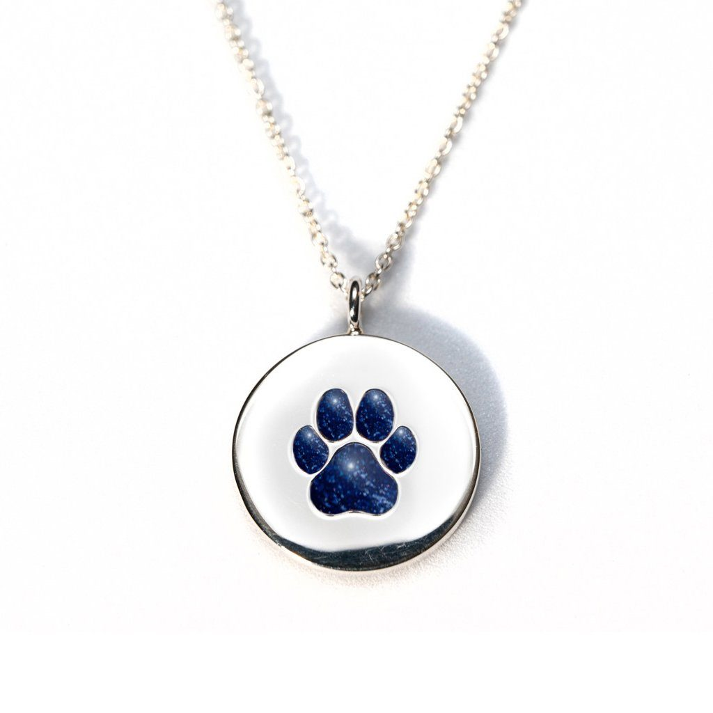 Sterling Silver Pawprint Pendant everence.life Navy