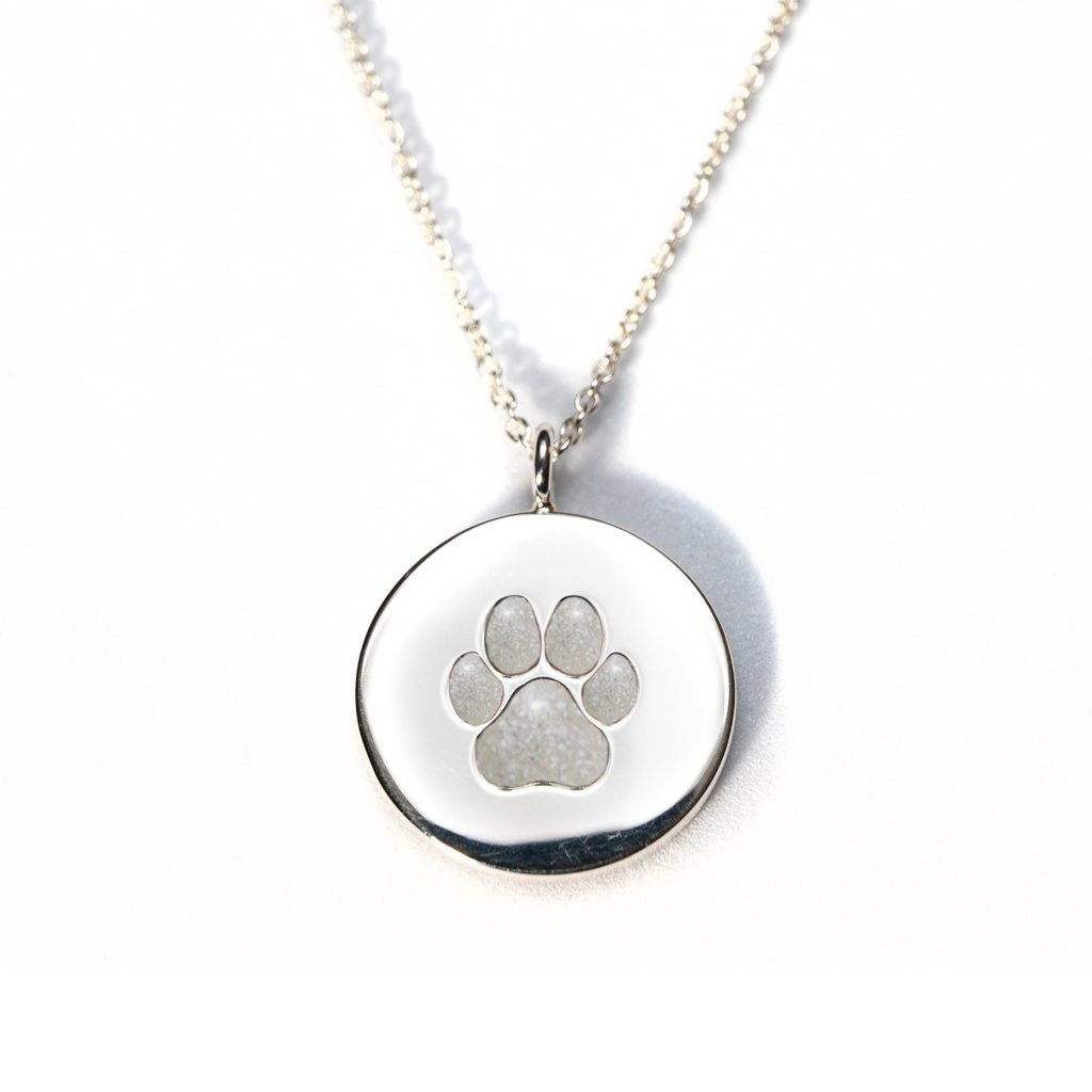 Sterling Silver Pawprint Pendant everence.life Pearl
