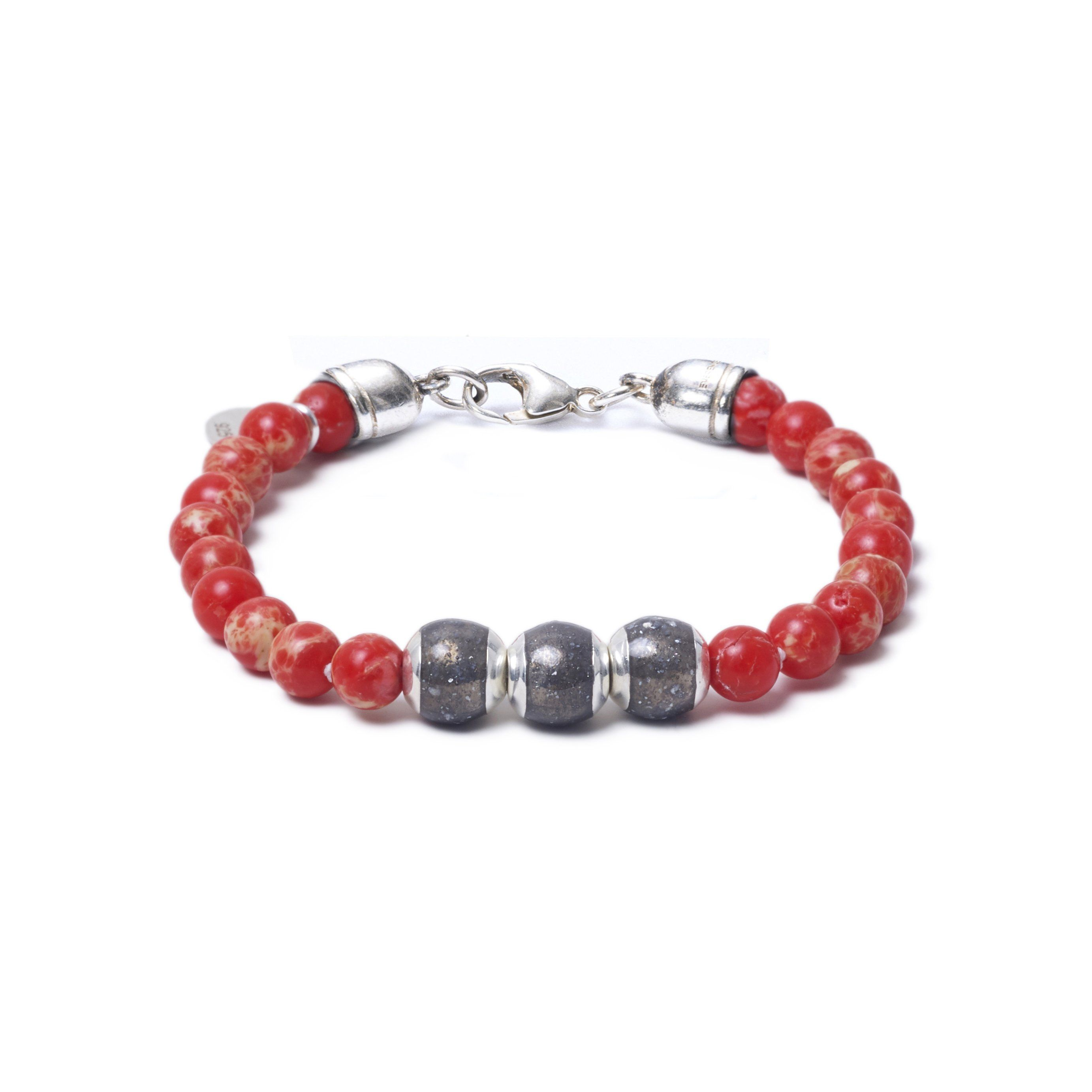 Red Sea Jasper, Three Everence Beads everence.life Grey Lobster Claw 7