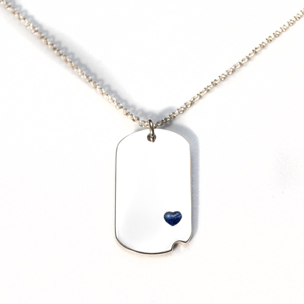 Sterling-Silver Dog Tag with Everence Inlay - Small Everence Navy