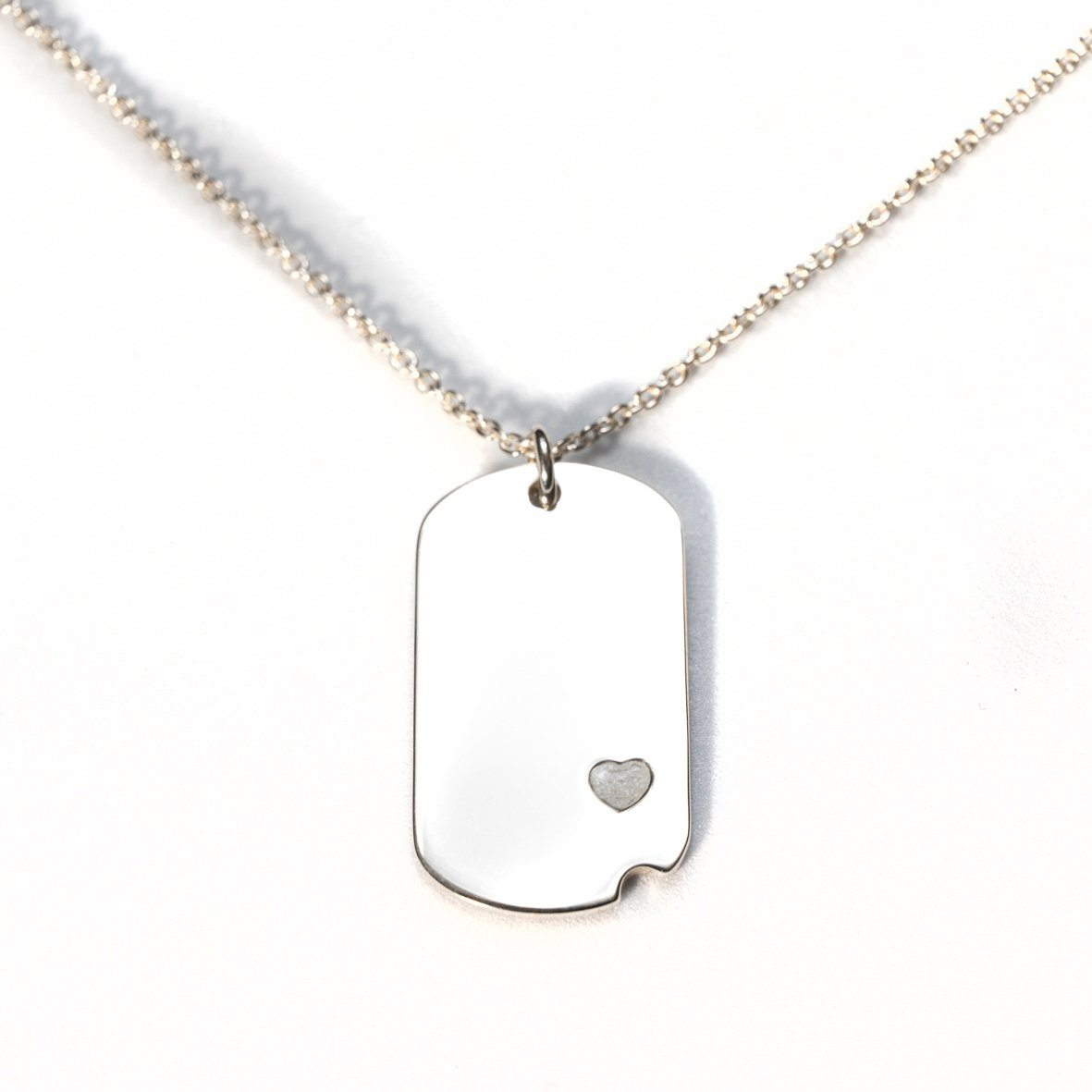 Sterling-Silver Dog Tag with Everence Inlay - Small Everence Pearl