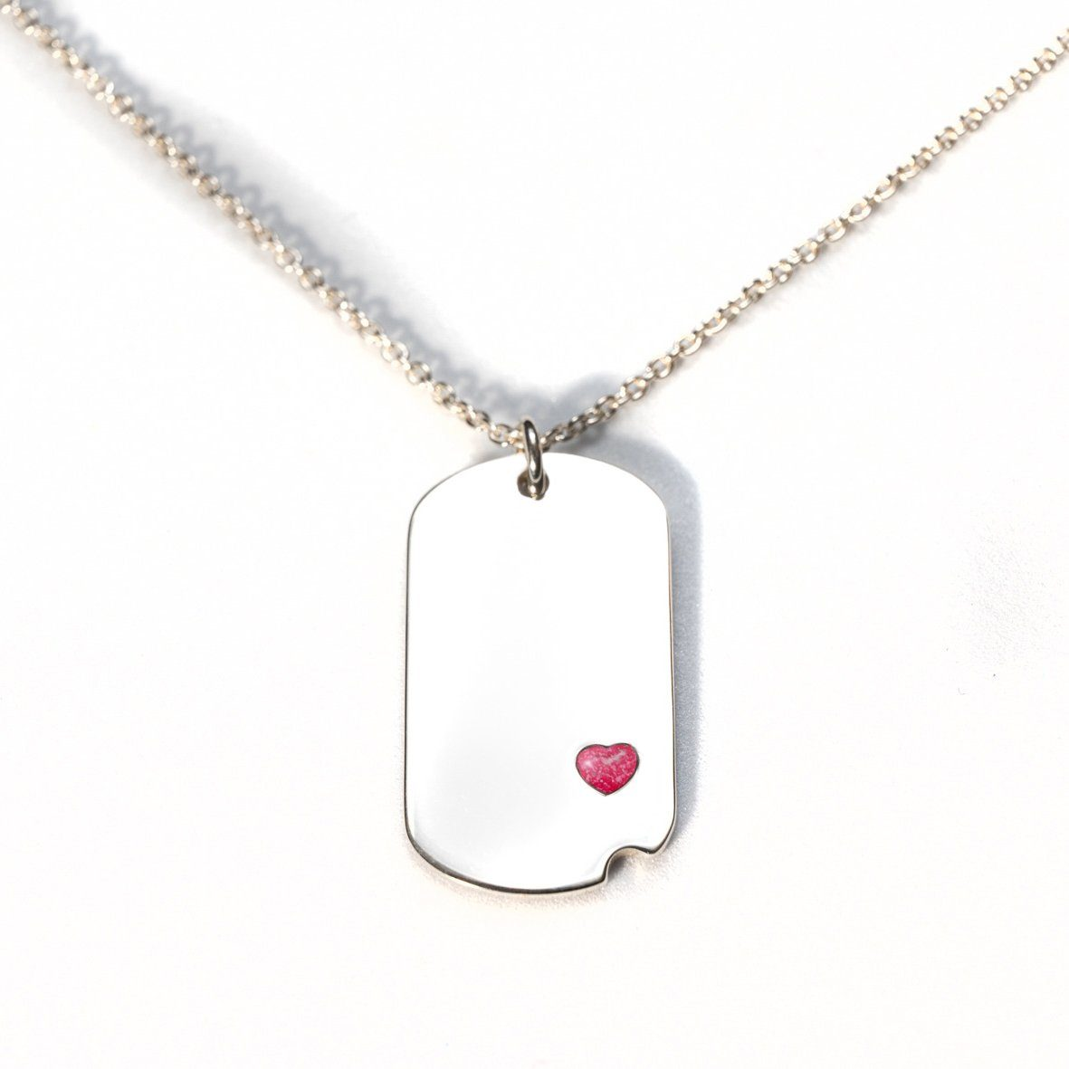 Sterling-Silver Dog Tag with Everence Inlay - Small Everence Scarlet