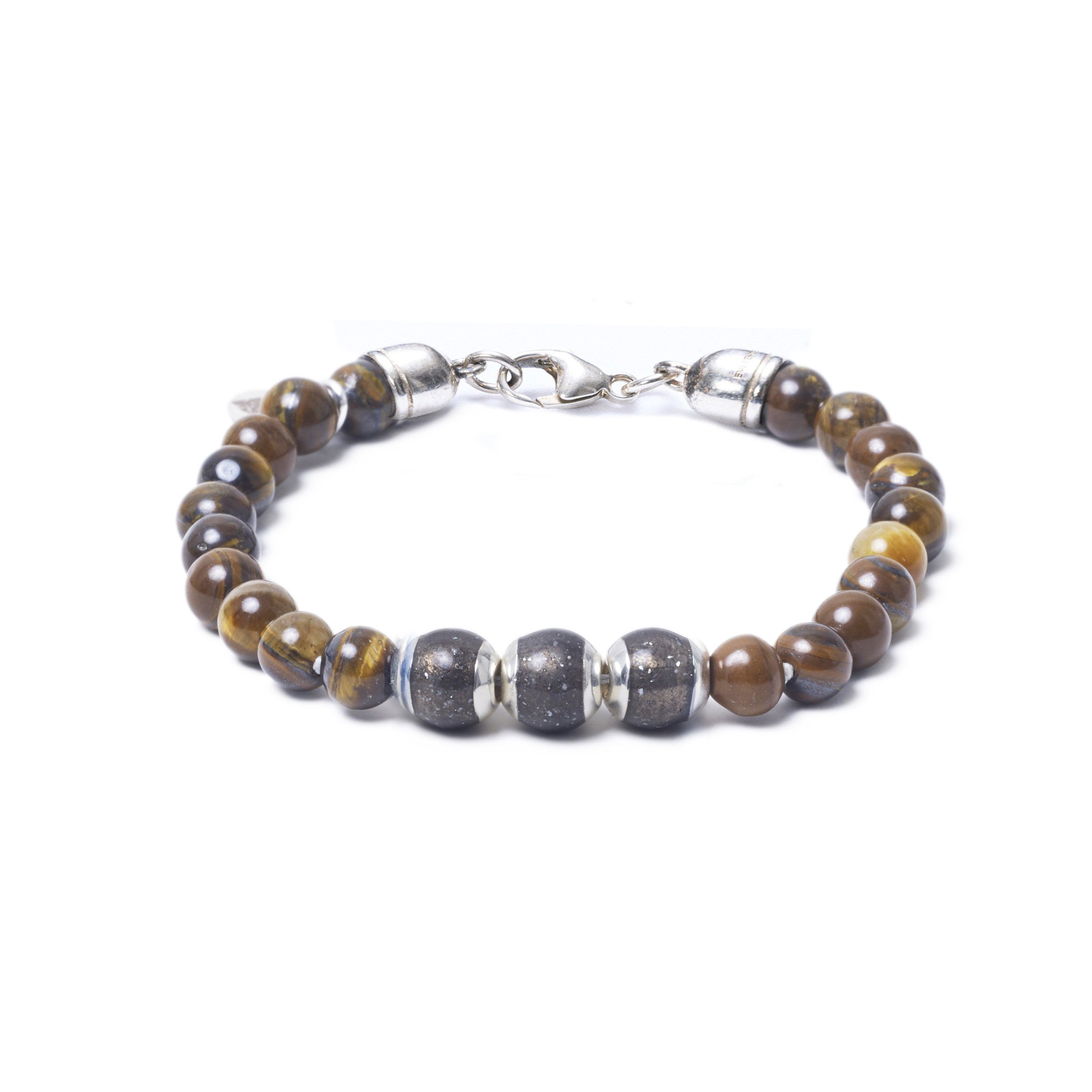 Tiger Eye, Three Everence Beads everence.life Grey Lobster Claw 7