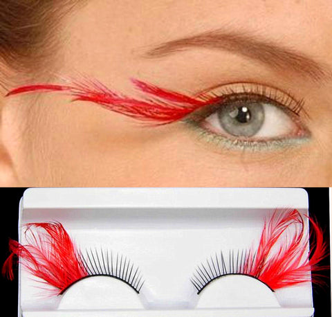 Dorisue Sexy Red feather lashes Red Flaire Halloween eyelashes Long Extra extension false eye Makeup Party Queen lover one pair P11