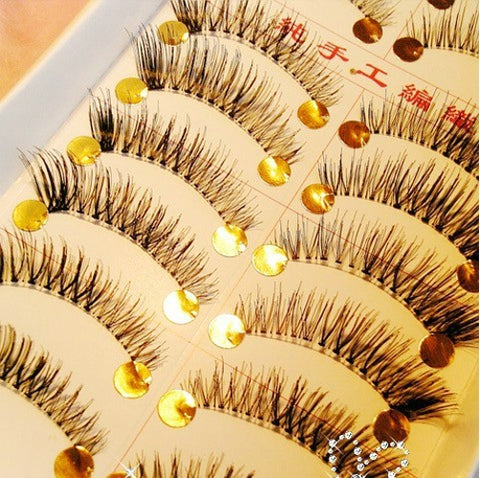 False Eyelashes (10 Pairs Set) Synthetic Fiber handmake Clear Roots Half in the end Eyelash fake false lash R6