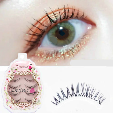 Dorisue Fake eyelashes Natural eyelashes Look Real 3D Light Weight Short natural eyelashes wispies False Eyelashes Short Handmade lashes Hight Quality face eyelashes Pack of 4 eyelashes pack E3