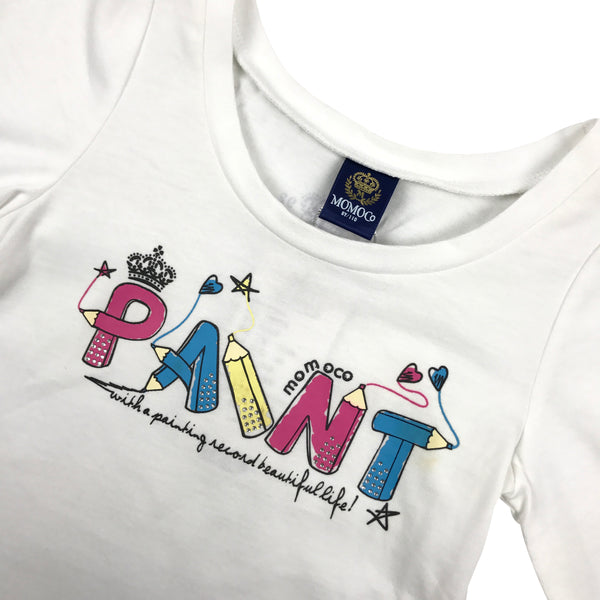 Girls Vest Undershirts Cotton Kids Tank Top 2 in 1 Kid Paint Rhinestones Casual Cotton T-Shirt Tee Top White 2-8
