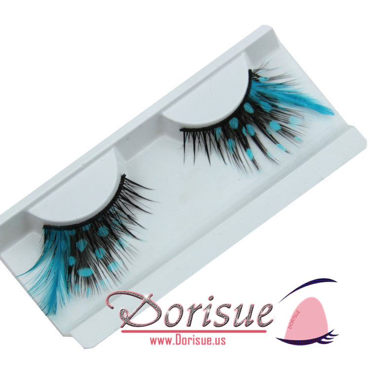 9fe0303b33b ... P12 Sexy Blue Point Peacock Prints Volume Feather eyelashes Extra  extension false eye Makeup