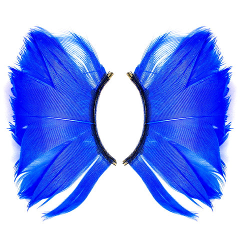 Dorisue Halloween Blue Eyelashes Long and Thick Exaggerated Feather eyelashes False Eyelashes Extension for Women Girls Cosplay Fancy Ball Halloween (Blue)