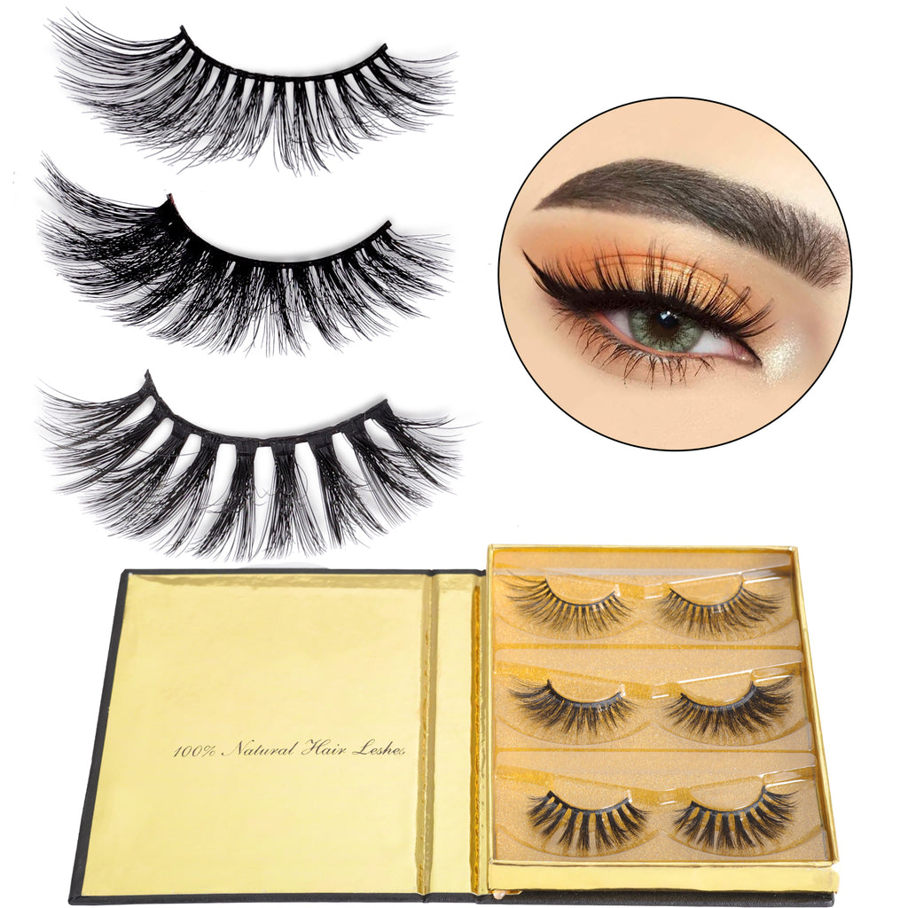 Dorisue Eyelashes Mink 3D Mink Lashes Dramatic Lashes Golden Multi-layered 3 different mink eyelashes mink Extensions kit