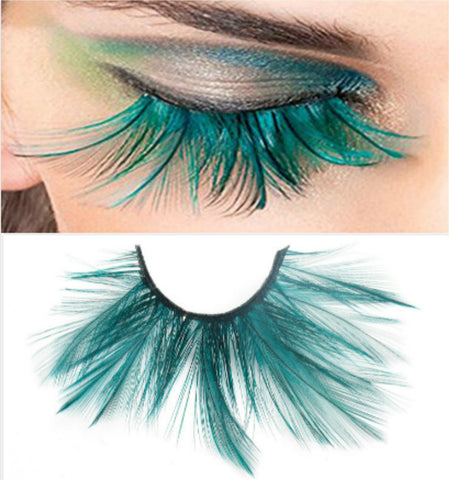 Dorisue Halloween eyelashes Double Lip Black with Green Big Extra Long Feather eyelashes Extra extension Halloween Green Feather lashes False Eyelashes Dance Cosplay Costume