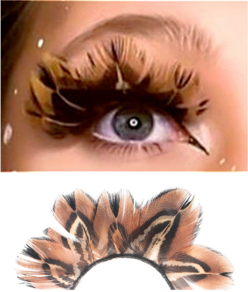 3D Sexy Tiger P6 Print Fake Eyelashes Handmade Feather Eyelash theatre show Dance Costume Halloween