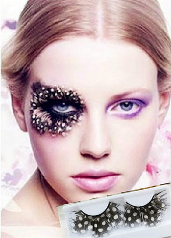 Dorisue Party Feather Eyelashes Fright Night Sexy leopard print Tiger Fake Eyelashes Party Cosplay Costume Feather False Eye Lashes dramatic design P5