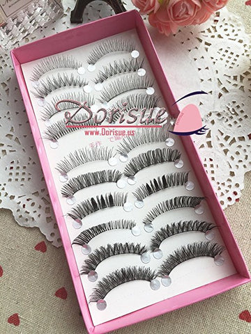 False Eyelashes ( 10 Pairs Set ) Combo Different Mix Natural false eyelash to Thick Dramatic Double layered lashes Good for Gifts