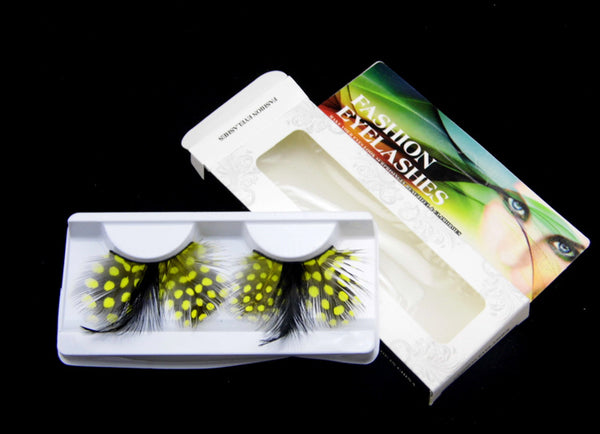 P13 Bee Peacock Style Feather Eyelashes Black with Yellow Point Volume lashes Extra extension Stage Halloween