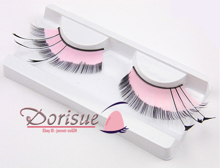 P3 A Pair Pink With Black Line Feathered Eyelashes Thinner