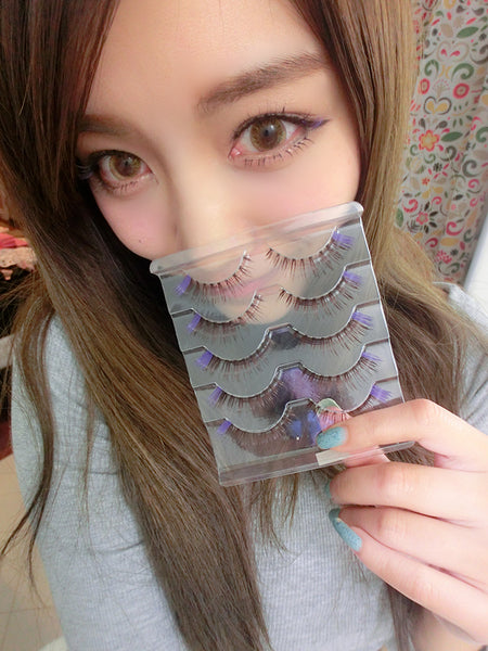 Y5 False Eyelash (5 Pairs Set ) Brown Eyelashes Lavender Purple ending lashes Natural Handmade Fashion Soft Comfortable Fake eyelashes