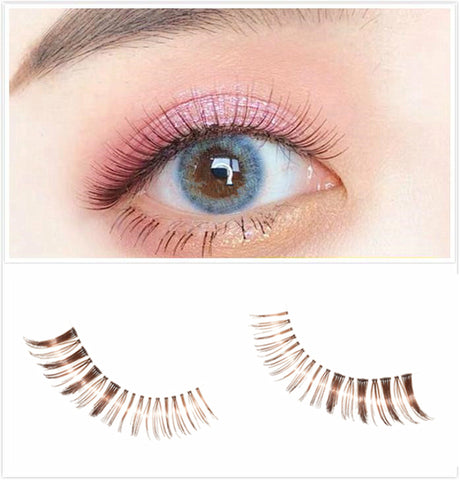 5B Dorisue Natural false eyelashes Brown Eyelashes 3D Light Color False Eyelashes Short Handmade lashes wispies Natural False Eyelashes Eye Makeup Fake Eyelashes 5 Pairs eyelashes pack