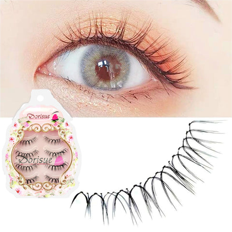 Dorisue V Shape Wispy lash Natural Short false eyelashes 3D Light Weight 4 eyelashes pack E6