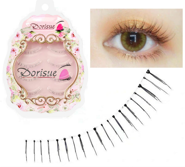 Dorisue Bottom Lashes Eyelashes Natural look Black Bottom eyelashes 4 Pairs  Look Real Thin and Lightweight Lower eyelashes