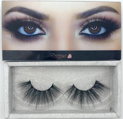 Dorisue 25MM 3D MINK LASHES Faux Mink Fake Eyelashes Handmade Dramatic Thick Crossed Cluster False Eyelashes Black Nature Fluffy Long Soft Reusable False Eyelashes Eye Makeup Fake Eyelashes