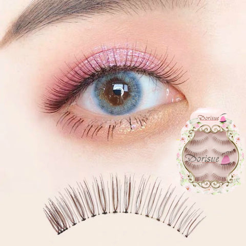 Dorisue Natural look Lashes Elegant Brown color 3D lightweight handmade lashes Small Natural False Eyelashes Eye 4 Pairs eyelashes pack