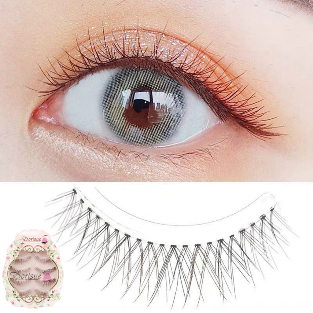 Dorisue 3D False Eyelashes Extensions Black and Brown Mink Lashes Strip Women's Lashes Handmade Soft 4 lashes pack