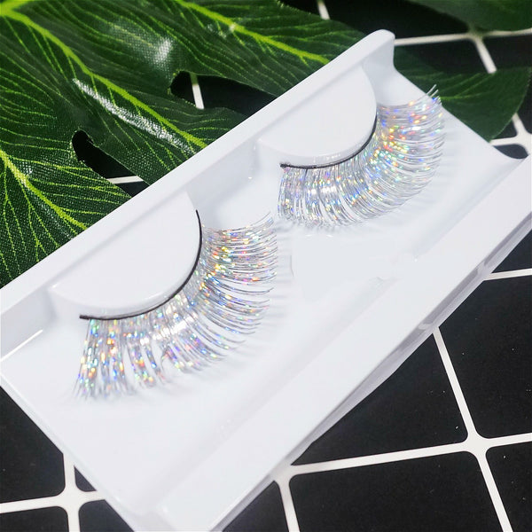 Dorisue Silver eyelashes Princess silver long colorful eyelashes Shiny Long and  silver-white  False Eyelashes Extension for Women Girls Halloween eyelashes silver P24