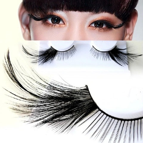 Dorisue Black eyelashes halloween Feather Eyelashes Cat eyes Black tail Lashes extension wedding Show Halloween Cosplay Wedding false lashes drama theatre model Hand-made Luxury Fashion Fake Lashes P7