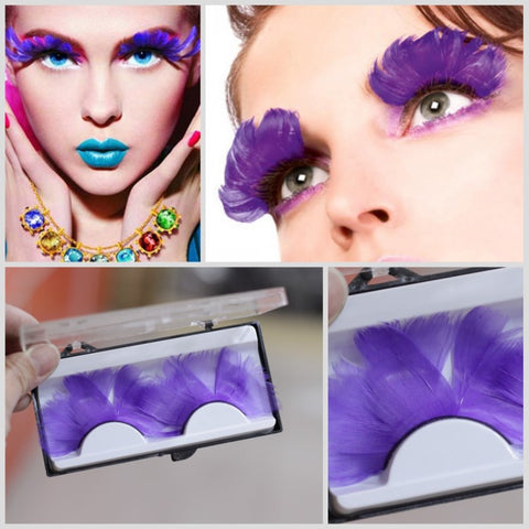 Dorisue Feathered EyelashesLight Purple for Christmas Party Cosplay Costume Dramatic Feather False Eyelashes Long Party Use 3D Fake Eye Lashes Handmade