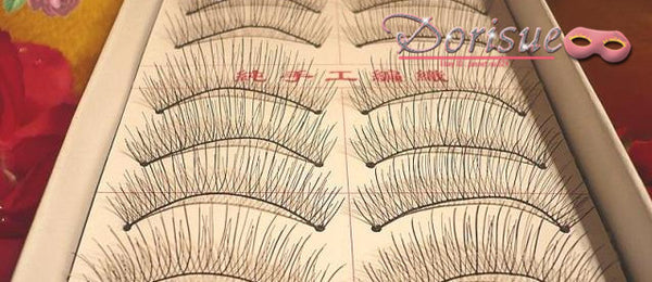 Dorisue False Eyelashes Eyelashes Natural Black Soft Comfortable Cotton Strips Makeup Handmade Lashes impressive falsies 10 pairs lashes Pack