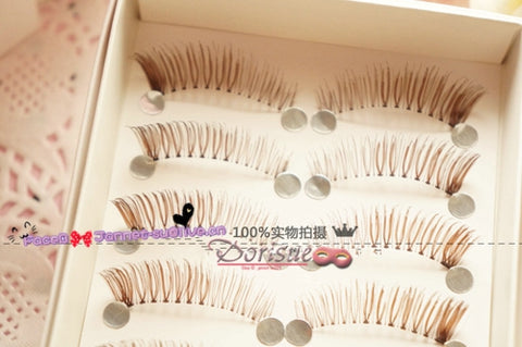 (5B)Dorisue Natural false eyelashes Brown Eyelashes 3D Light Color False Eyelashes Short Handmade lashes wispies Natural False Eyelashes Eye Makeup Fake Eyelashes 5 Pairs eyelashes pack