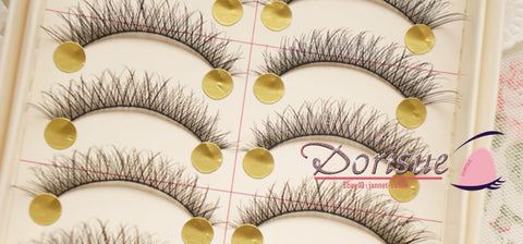 Dorisue False Eyelashes (10 Pairs Set) Cross Lashes Black Cotton Line Family Roots Beauty Multipack Demi Wispies Fake Eyelashes