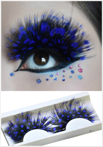Dorisue Mermaid Party Lashes Anime lashes Blue Eyelashes Dark Blue colored Cosplay blue vessel lashes 3d False Eyelashes Extension for Women Girls Night show Costume lashes for woman