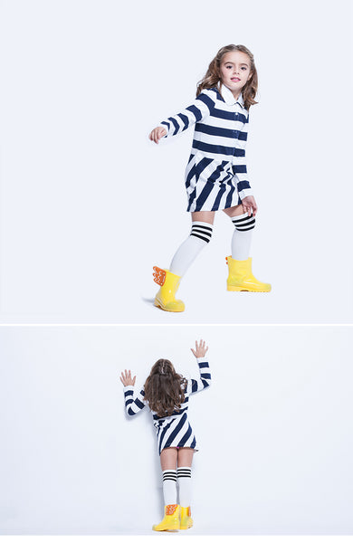 Kid Dress Girls' Cotton Collar Neck Long Sleeve Stripe With Collar Jersey T-Shirt Tees Dress Size US 6-7 120CM
