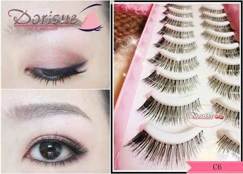 Dorisue False Eyelashes Flare lashes outer corner lashes Tail Extension Eyelashes long outer edge false eyelash Natural Look and soft Lashes 10 lashes pack