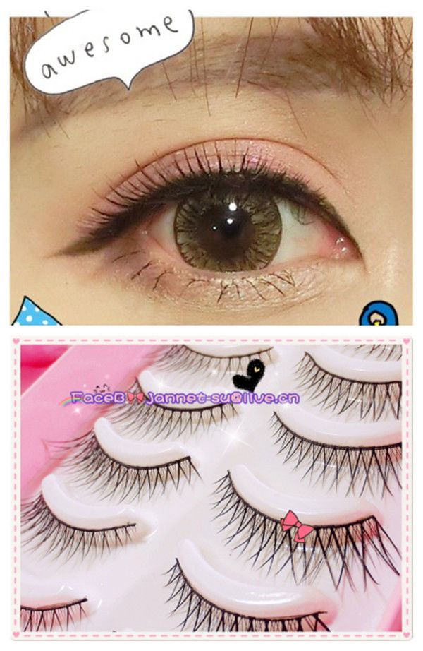 B5 False Eyelashes 10 Pairs Set Long Center Short Sides Flare