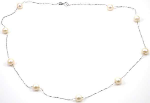 9 Pearl Station Necklace - Pick a Color