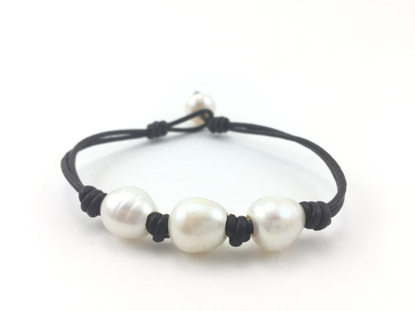 Leather and Pearl Boheme Bracelet - Pick a Color